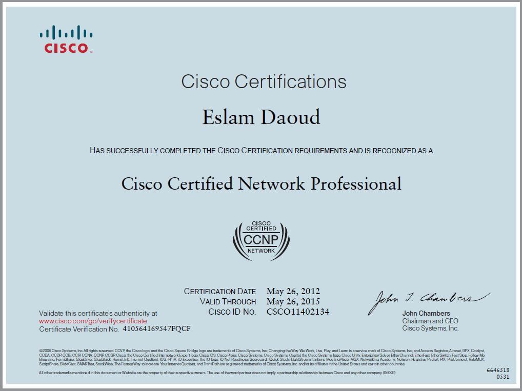 Ccnp Certified Eslam Daoud